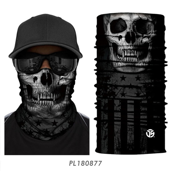 3D Ghost Skull Bandana Neck Gaiter Head Shield Summer Tube Balaclava Scarves Breathable Sun Guard Headband Scarf Bicycle Men