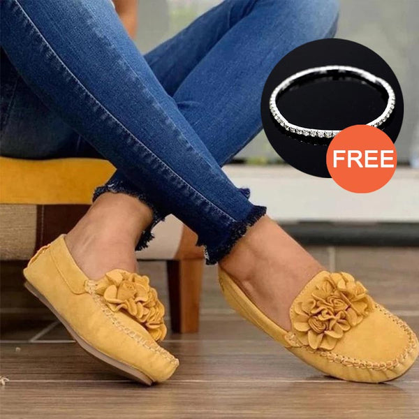 MCCKLE Women Slip On Casual Flats Shoes Ladies Sewing Solid Flower Loafers No Slip Shoe Woman Moccasin Female Fashion Flat Shoe
