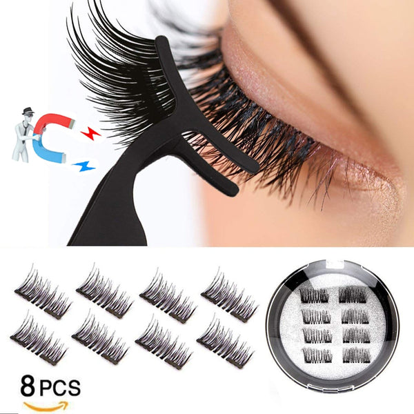 LEKOFO 8Pcs Magnetic Eyelashes With 2 magnetic lashes 3D False Natural For Mink Eye lashes Extension Long faux cils magnetique