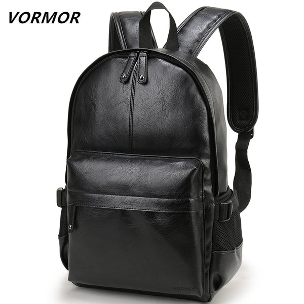 VORMOR Brand Men Backpack Leather School Backpack Bag Fashion Waterproof Travel Bag Casual Leather Book bag Male