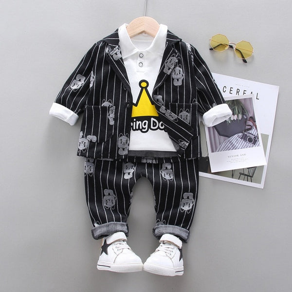 New Spring Autumn Children Gentleman Clothes Kids Boys Cotton Suit T-Shirt Pants 3Pcs/sets Baby Formal Clothing Infant Tracksuit