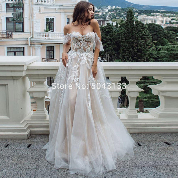 Sexy Sweetheart Lace Appliques A Line Wedding Dresses Tulle Off Shoulder Sleeveless Wedding Gowns for Brides Formal Dress 2021