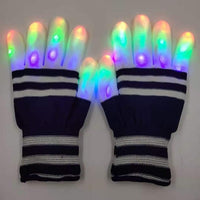 1pair Kid Adult LED Flashing Magic Glove Glow In The Dark Toys Light Up Finger Tip Lighting Toys for Children Novelty Party Toys
