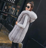 2020 Autumn Winter Women's Sleeveless Fur Fashion Casual Faux Fur Vest Oversize Fake Fur Jacket with Hooded Female Outerwear