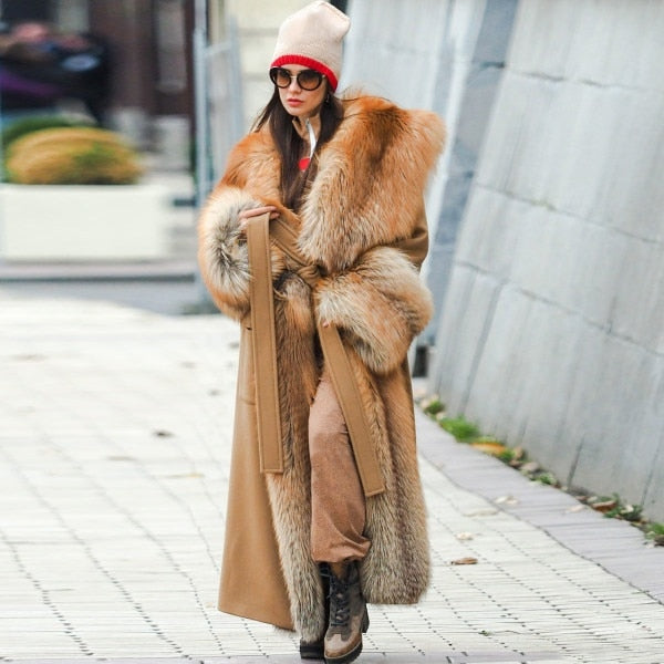 Faux Fur Coat Women Winter Warm Long Thick Coat Streetwear Fur Collar Outwear Oversized Ladies Coats and Jackets Plus Size