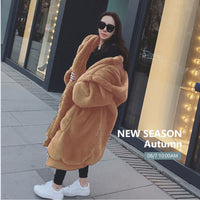 Hooded Oversized Jacket Winter Fur Coat Women Parka Long Warm Faux Fur Jacket Coats Hoodies Loose Winter Coat Women -20 degrees