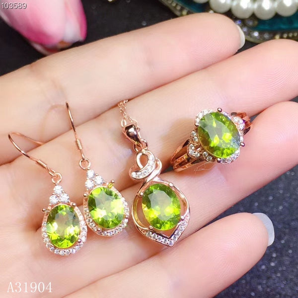 KJJEAXCMY boutique jewelry 925 sterling silver inlaid natural peridot gemstone female luxury necklace pendant ring earrings set