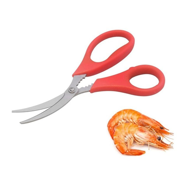 Stainless Steel Lobster Peeling Shrimp Scissors Curved Design Cut Fish Knife For Kitchen Gadgets Seafood Separator Cooking Tools