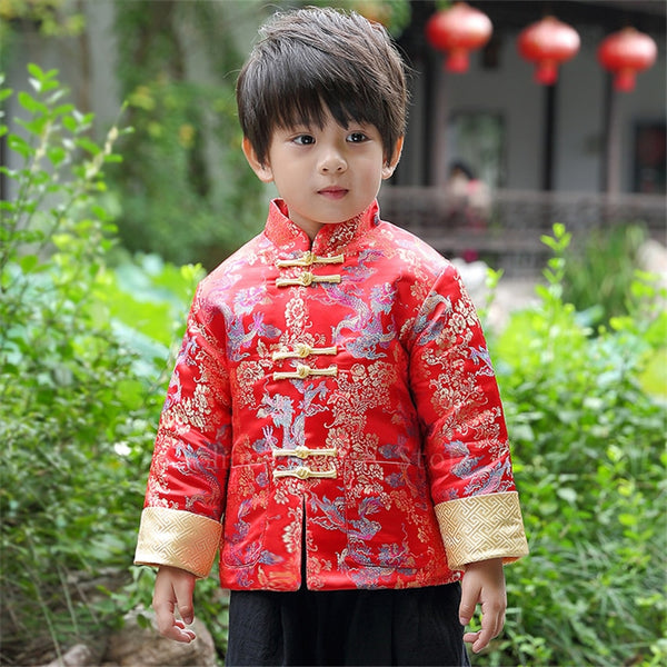 New Year Chinese Traditional Clothing for Kids Baby Boy Festival Retro Fancy Golden Dragon Printed Satin Tang Suit Top Pants Set