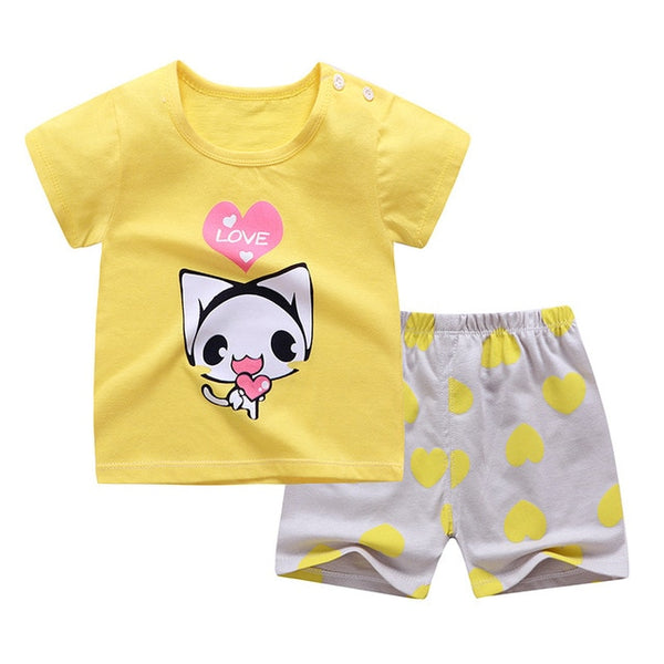 Cotton Summer Baby Children Soft Shorts Suit t-shirt Sodder Boy Girl kids dinosaur cartoon infant clothes for 0-6Y