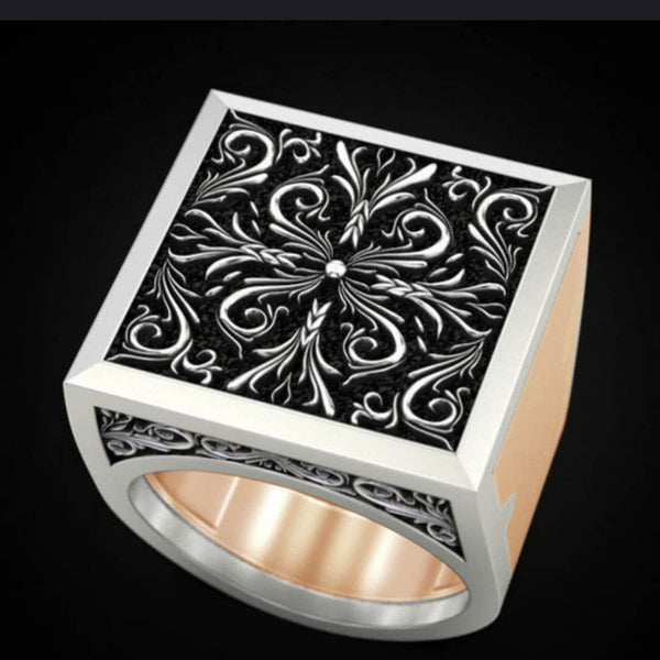 Men's Combination Rings Secret Pattern Cross Gift Ring Hip Hop Jewelry Viking Rings for Women Men Live Forever Daily Wear
