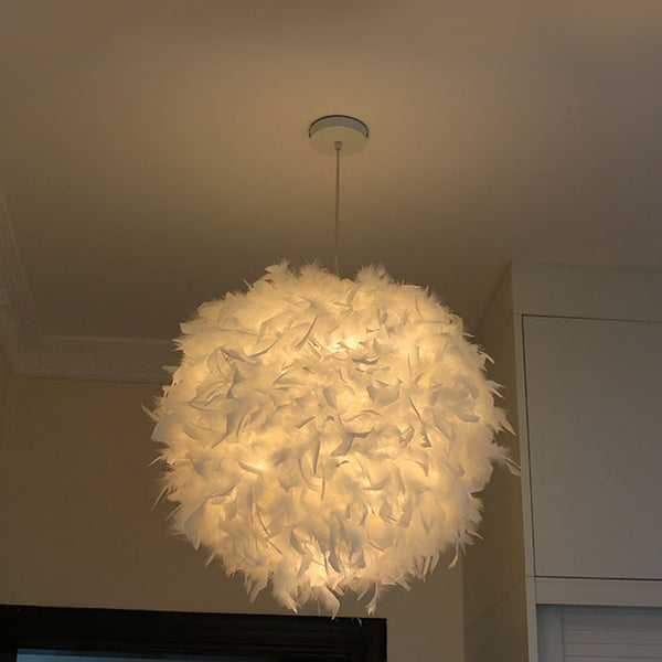 White Feather Chandelier Lampshade for The Living Room Dining Room Bedroom Floor Lamp and Table Lamp Feather Lampshade