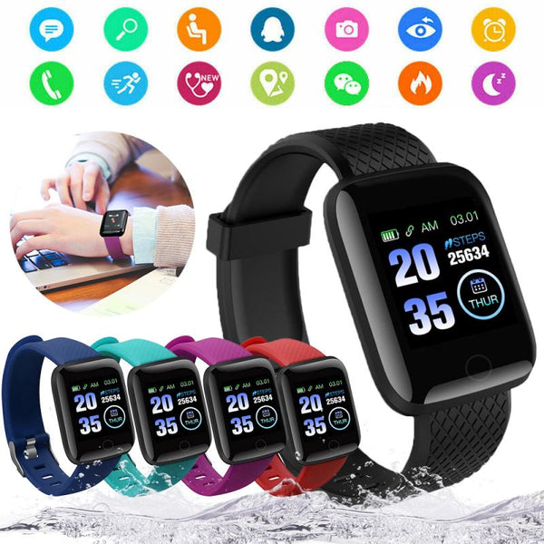 Smart Watch 116Plus Wristband Fitness Blood Pressure Heart Pedometer Waterproof Sport for Women Men Pedometers TSLM1