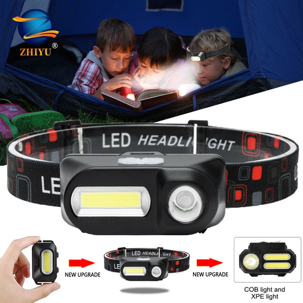 ZHIYU Portable Mini XPE+COB LED Headlamp USB Rechargeable Camping Head Lamp Fishing Headlight Running Flashlight Headlight Torch