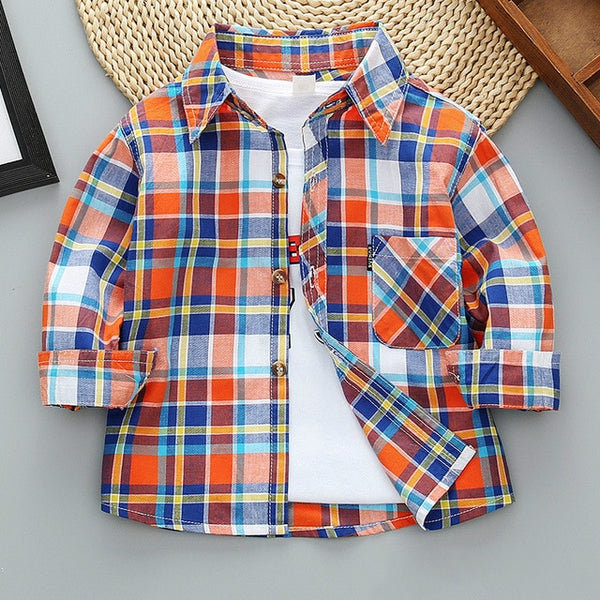2021 New Toddler Boys Shirts Long Sleeve Plaid Shirt For Kids Spring Autumn Children Clothes Casual Cotton Shirts Tops 24M-11Y
