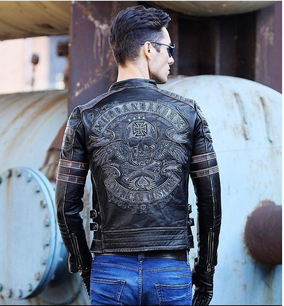Brand mens skull coat genuine leather clothes,men's vintage motor biker leather jacket.plus size homme Fitness