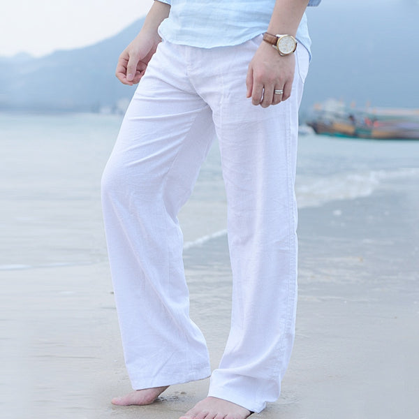 Men Casual Cotton Linen Wed Leg thai fisherman Loose Long Pant White Black Solid Color Autumn Summer Plus Size M-3XL