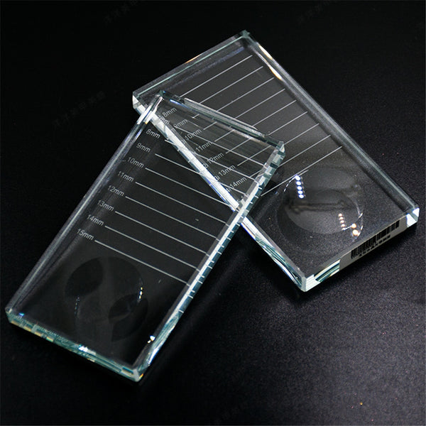 Eyelash Extension Strip Display Storage Pallet Stand Board Eyelashes Glue Crystal U Curved/Straight Glass Pallet Holders Makeup