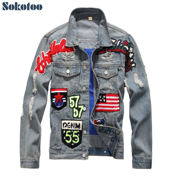 Sokotoo Men's American flag badge patch design slim denim jacket Vintage letters patchwork ripped distressed coat Outerwear