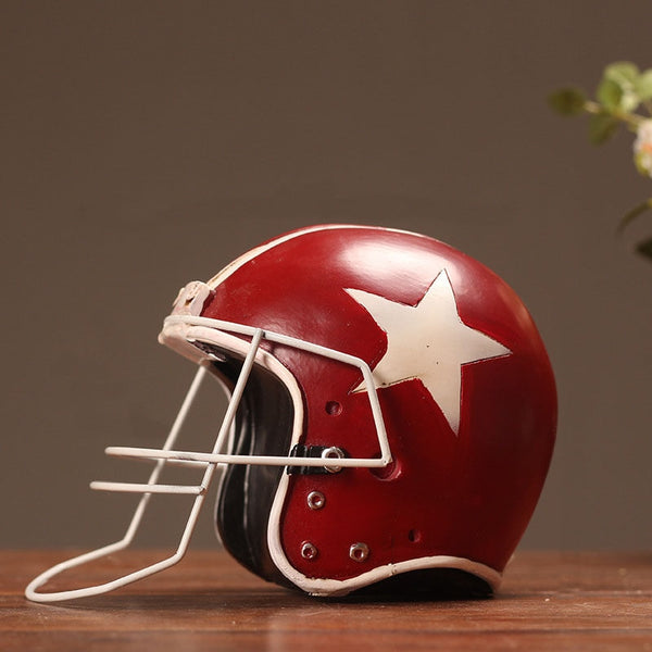 Vintage Retro American Football Baseball Helmet Cap Hat Resin Craft Gift Living Room Ornaments Model Home Decoration Sports Red