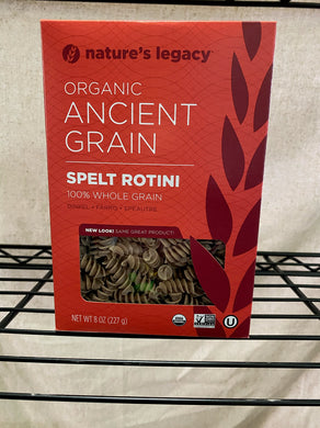 box of spelt rotini on wire shelf