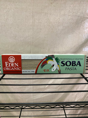 box of soba pasta on wire shelf