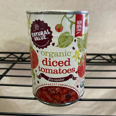 can of tomatoes on wire shelf