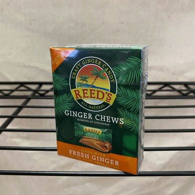 box of ginger chews on wire shelf