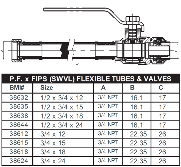 "BMI 1/2"" x 3/4"" x 18"" Brass Push-Fit x FIPS Ball Valve with Flexible Tube Fitting Item 38638 (Package Quantities)"
