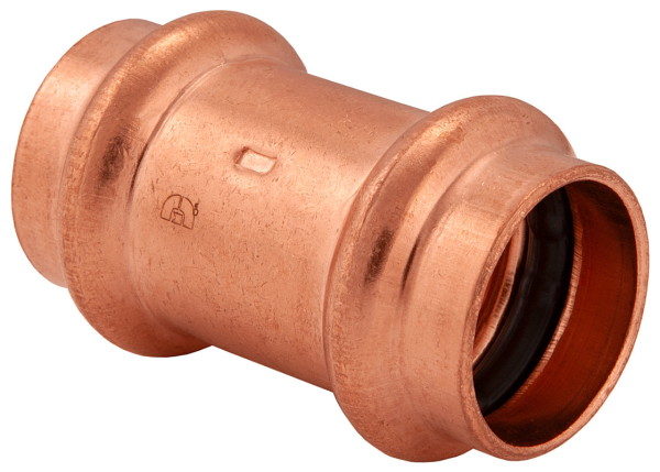 "BMI 2"" Wrot Copper Press-Fit Coupling Dot Stop Fitting Item 47009"