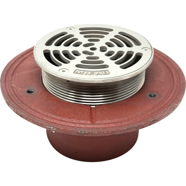 "Mifab F1000-5-3-7 Floor Drain for Non-Membrane Floors, Heavy-Duty 5"" Round Stainless Steel Strainer, Trap Primer Connection, 2"" 3"" 4"" 6"" No-Hub Connection"