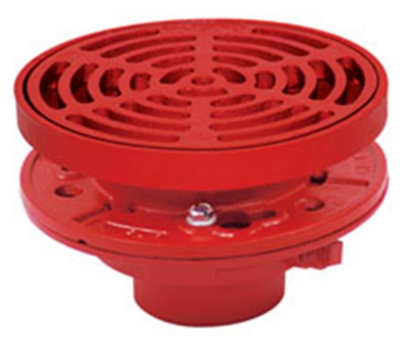 "MIFAB F1320-C-G Floor Drain with 9"" Round Adjustable Tractor Grate, Membrane Clamp, Oval Funnel, 2"" 3"" 4"" No-Hub"