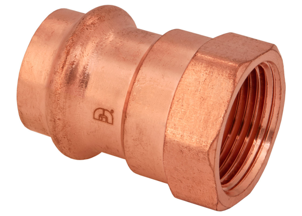 "BMI 1-1/4"" x 1"" Wrot Copper Press-Fit P x FIP Reducing Adapter Fitting Item 47733"