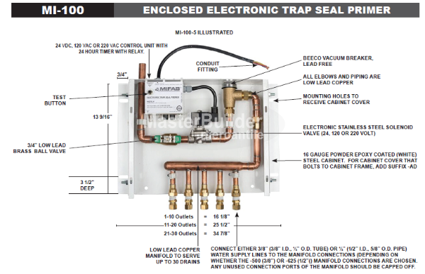 MIFAB MI-100-20 Enclosed Electronic Trap Seal Primer, 16-20