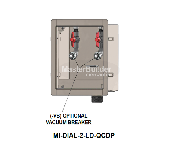 Mifab MI-DIAL-2-LD Stainless Steel Supply & Waste Dialysis Box w/ Two Valves Less Door