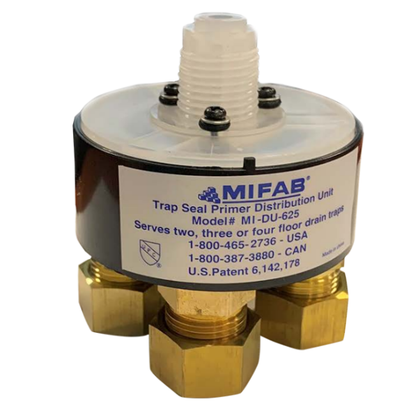 MIFAB MI-DU Trap Seal Primer Distribution Unit for Two, Three or Four Floor Drain Traps