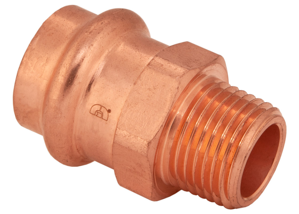 "BMI 1"" x 1-1/4"" Wrot Copper Press-Fit PxMIPS Reducing Adapter Fitting Item 47831"