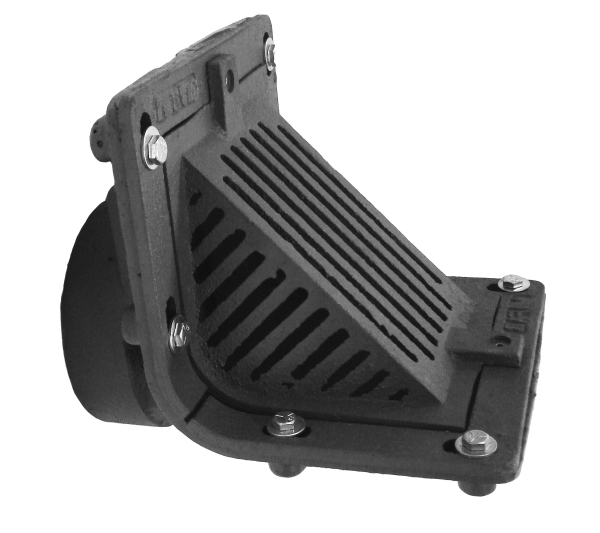 MIFAB R1300T Scupper Drain with Angle Grate and 90 Degree Threaded Outlet