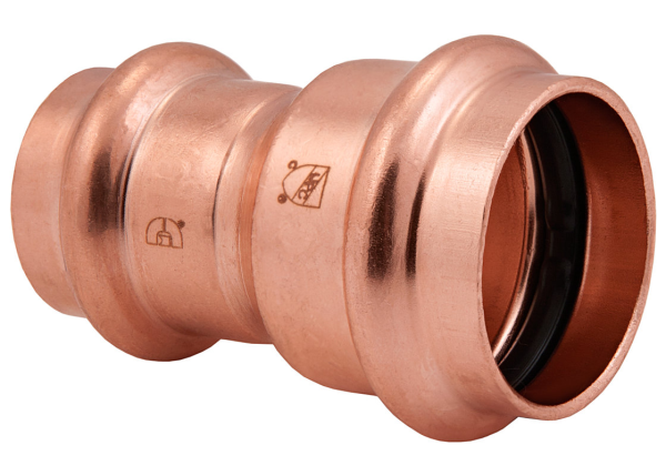 "BMI 1-1/2"" x 1-1/4"" Wrot Copper Press-Fit Reducing Coupling Fitting Item 47035"