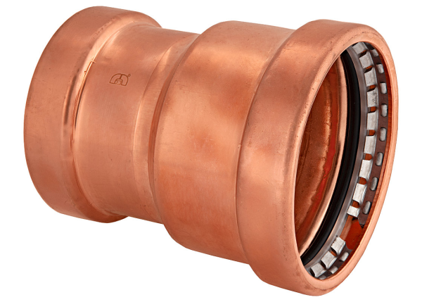 "BMI 4"" x 2"" Wrot Copper Press-Fit Reducing Coupling Fitting Item 47058"