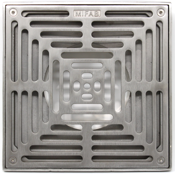 "MIFAB XS8-3 8"" x 8"" Heavy-Duty Square Stainless Steel Strainer"