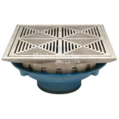 "Zurn Z154 12"" Square Top Promenade Deck Drain with Heel-Proof Grate and Rotatable Frame"
