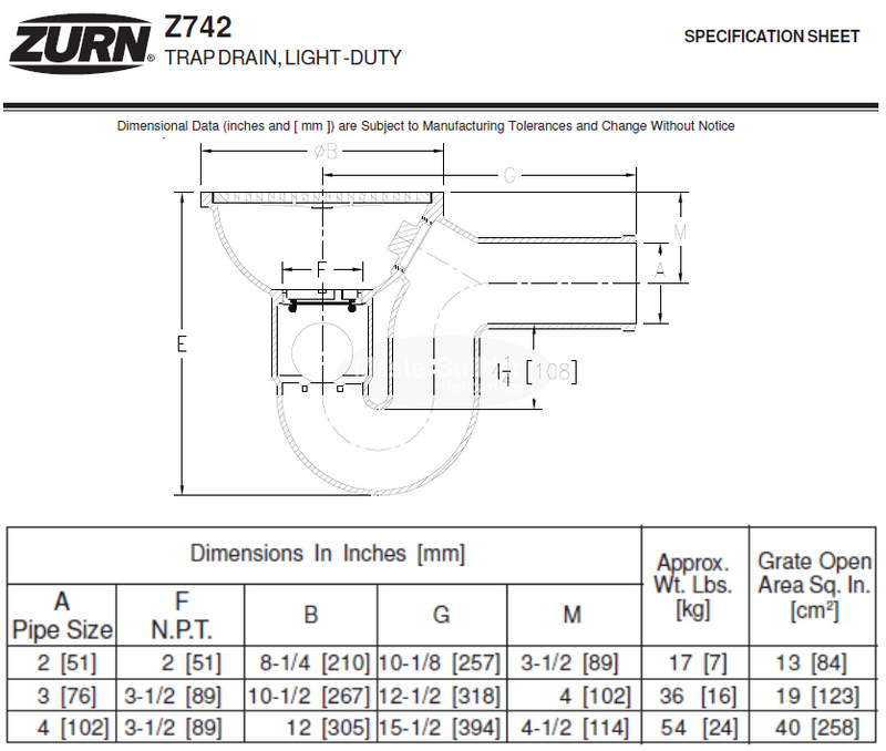 "Zurn Z742-2SP 8"" Light-Duty Top Drain w/ Integral Double Wall Trap, Side Outlet, Backwater Valve"