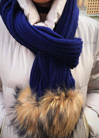 Navy Fox Ball Scarf