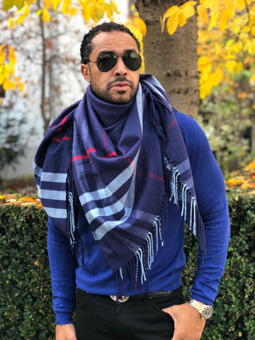 Blanket Scarf -Navy Blue