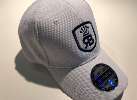 White w/navy logo