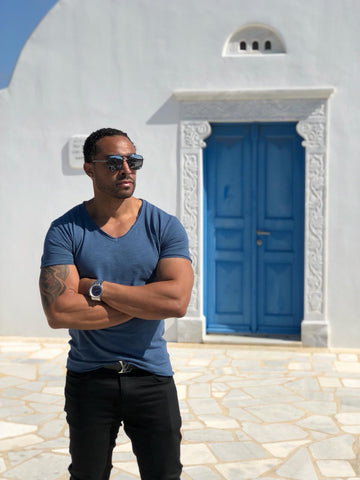 Robeaux Collection V-Neck T Shirt Petrol Blue