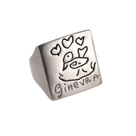 Italian 925‰ Silver Square Shape Ring-Inkids