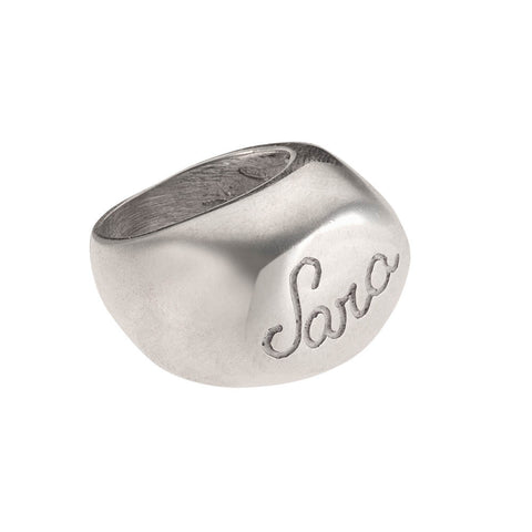 Italian 925‰ Silver Oval Seal Shape Ring