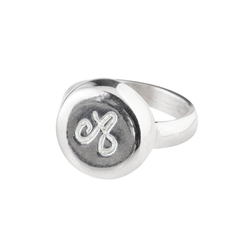 Italian 925‰ Silver Round Seal Shape Ring